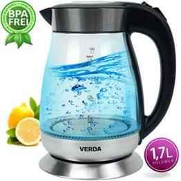 Wasserkocher Verda 1,7L 2000W Edelstahl LED Beleuchtung Kabelloss Glas SN0617L-3
